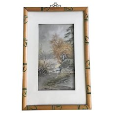 Old Japanese Watercolor Painting Figural Person with Umbrella in Rain Signed by Artist