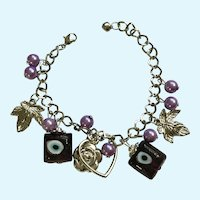 Grecian Beaded Charm Bracelet with Blue Eyes and Heart Rose Charms