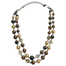 Double Stranded Brown and Cream Beaded Faux Pearl Chain Necklace