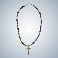 Multicolored Glass Beads with Silver-Tone Cross Necklace