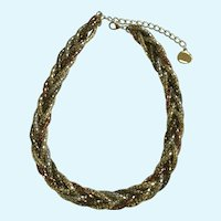 Silver-Tone, Gold-Tone and Copper-Tone Woven Metal Rope Chain Necklace