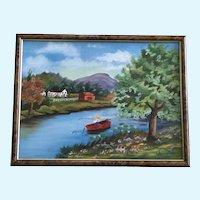 Little Boy Fishing in a Pond Primitive Folk Art Oil Painting