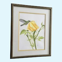 Green Hummingbird at Yellow Rose Flower Original Watercolor Painting Signed Sani
