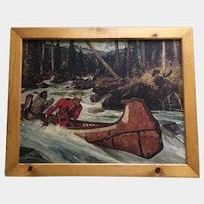 Arnold Friberg Canadian Mountie In Canoe On River RCMP 1957 Lithograph Print 23X18 In Wood Frame