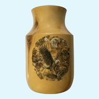 Beautiful Aspen Wood Vase with Eagle Design Made by Colorado Artist Gary Duncan