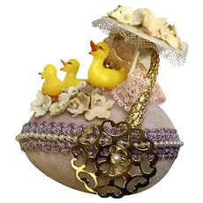 Mid-Century Easter Egg Decoration with Ducks, Lace,  Flowers and Wheels