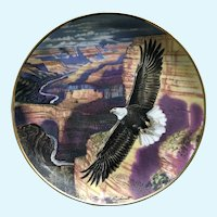 Franklin Mint Eagle Lord of the Canyon Collectors Plate  24kt