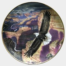 Franklin Mint Eagle Lord of the Canyon Collectors Plate Ronald Van Ruyckevelt Eagle 24kt