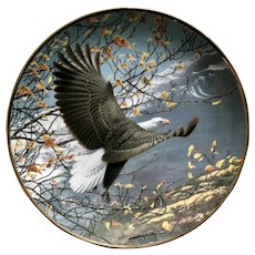 Autumn in the Mountains Bald Eagle Flying The Hamilton Collection Collectors Plate John Pitcher 24kt