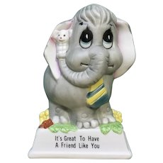Vintage Russ Berrie Elephant and Mouse Ceramic Figurine It's Great to have a Friend Like You #810