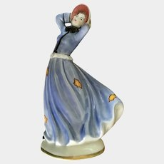 Vintage Goldscheider Goldcrest Ceramics Corp. Dorier Woman in Blue Dress on Windy Day in Fall Porcelain Figurine Autumn Leaves #1241