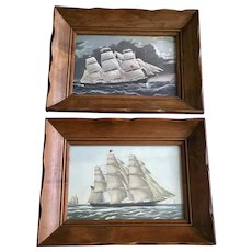 1950's Clipper Ship Dreadnought off Tuskar Light - FF Palmer & Clipper Ship Flying Cloud Currier & Ives Lithographs