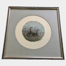 Winter's Friend P. Buckley Moss Two Geese in Wildflowers Limited Edition Print 1987