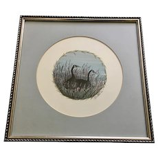 Winter's Friend P. Buckley Moss Two Geese Limited Edition Print 1987
