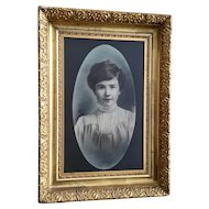 Nice Figural Portrait of a Beautiful Woman in Gold Leaf Frame
