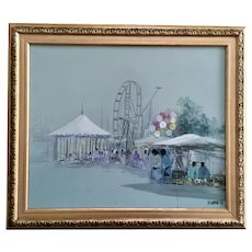 Ferris Wheel Native American Carnival Oil Painting Signed By Artist