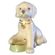 Lenox Figurine Puppy Dog with Green Water October Pink Birthstone Dish 24K Accents Adorable