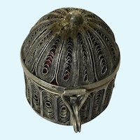 Birdcage Pin Cushion Trinket Box Silver-Plated Copper Filagree Birdcage