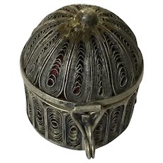 Vintage Pin Cushion Trinket Box Silver-Plated Copper Filagree Birdcage