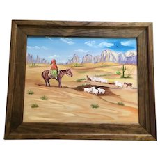 C H Browning, Native American Indian Woman Goat Herder on Horseback Naive Acrylic Painting Signed by Artist