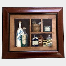 Vintage Medicine Cabinet Naive Oil Painting on Wood Plank