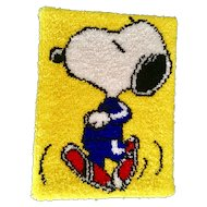Snoopy Jogging Peanuts Latch Hook Shag Rug 1970's Malina Completed Wall Hanging Art Picture