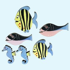 Mid-Century Fish Seahorse Wall Decor Cardboard & Paper Plaques
