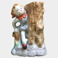 Vintage Little Girl Climbing Over Fence by Tree Stump Porcelain Vase