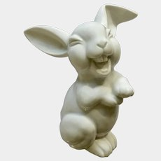 Rosenthal Max Fritz's Laughing Bunny Rabbit Discontinued All White Germany Porcelain Figurine Large Size 6 inches