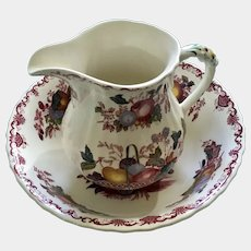 "Mason's Fruit Basket Red Multicolor Pattern 6"" Milk Pitcher & 9"" Round Vegetable Bowl Ironstone Made in England Discontinued"