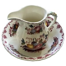 """Mason's Fruit Basket Red Multicolor Pattern 6"""" Milk Pitcher & 9"""" Round Vegetable Bowl Ironstone Made in England Discontinued"""