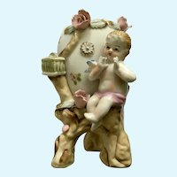 Vintage Ucagco Egg Vase Bird and Cherub Baby Pink Flowers