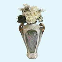 Vintage Moriyama Morimach Hanging Wisteria Moriage Vase Japan Hand Painted