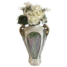 Vintage Moriyama Morimach Hanging Wisteria Moriage Vase Made in Japan Stamped Green MM Hand Painted