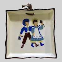 Vintage 1950's Cleminsons , School Boy and Girl California Art Pottery Wall Hanging