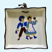 Vintage 1950's Cleminsons , School Boy and Girl California Art Pottery Wall Hanging, Hand Painted Ceramic Square Plate Brown Trim