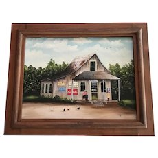 Lillie Brown, Country Store Folk Art Oil Painting Signed By Artist