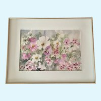 Beautiful Wildflowers Floral Water Color Painting Signed By Artist