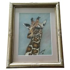 Enid Kiger, Giraffe Portrait Pastel Mixed Media Painting Signed By Artist