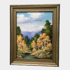 Willard J. Page (1885-1958) Long's Peak Colorado Oil Painting on Board Monogrammed by Artist