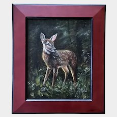 J Anes, Baby Fawn Doe Deer in Wilderness Landscape Oil Painting