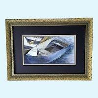 Karen Birch, Row Boat Skiff at Mooring Watercolor Painting