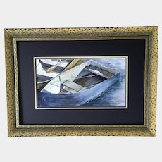 Karen Birch, Row Boat Skiff at Mooring Original Watercolor Painting Signed by Artist