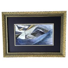 Karen Birch, Row Boat Skiff at Mooring Watercolor Painting
