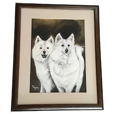 Pat Adkisson, Two White Samoyed Dogs Oil Painting on Art Board Signed By Artist