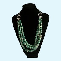"Green and Silver-Tone Beaded Necklace 22-1/2"" Long"