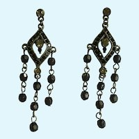 Black and Faux Diamond Rhinestones on Silver-Tone Stud Post Earrings