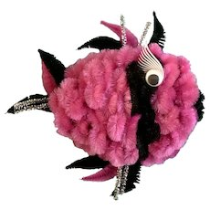 Humorous Mid-Century Pipe Cleaners Fish Pink & Black Wall Plaque Decor