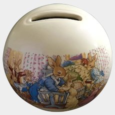 Royal Doulton Bunnykins Child's Money Ball Celebrate Your Christening Porcelain Piggy Bank