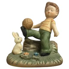 Vintage Napco Teeny Tykes Boy Soccer Ball and Bunny Outdoor Fun Figurine #554